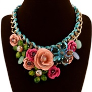 VDI occidental style fashion fashion exaggerating necklace  handmade braid flowers necklace woman