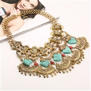 occidental style retro turquoise tassel necklace  fashion sweater chain