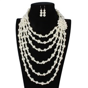 occidental style retro fashion necklace  exaggerating Alloy diamond Pearl flower sweater chain