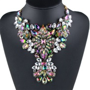 occidental style flowers diamond necklace large pieces crystal pendant fashion all-Purpose personality sweater chain
