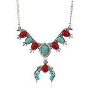 occidental style ethnic style turquoise pendantU necklace  fine