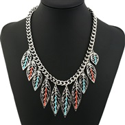 occidental style  retro hollow leaves beads necklace  fine