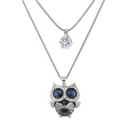 Korean style fashion  sweet flash diamond owl Double layer temperament long necklace  sweater chain
