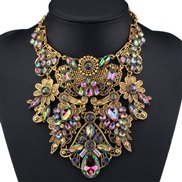 occidental style exaggerating big flowers all-Purpose fashion necklace woman summer short style temperament clavicle D