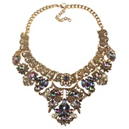 occidental style retro palace colorful diamond necklace hollow temperament fine pattern exaggerating sweater chain