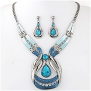 occidental style fashion  Metal gem drop temperament necklace ear stud set