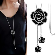 occidental style fashion  Metal concise flash diamond rose temperament long necklace sweater chain