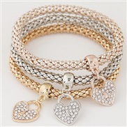occidental style fashion brief diamond love pendant three color chain multilayer bracelet