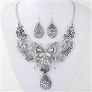 occidental style fashion  Metal hollow butterfly drop temperament necklace earrings set
