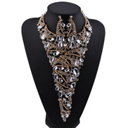 occidental style luxurious necklace earring set  fully-jewelled