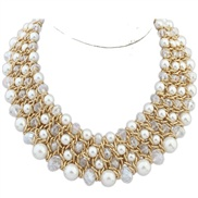 European and American metal texture trend wild temperament exaggerated pearl necklace crystal preparation ( four rows )
