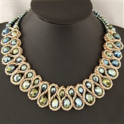 European and American fashion exaggerated large pieces of metal crystal necklace temperament preparation