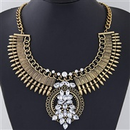 occidental style  Metal exaggerating shine gem temperament necklace