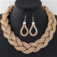 occidental style trend  Metal concise establishment temperament necklace earrings  set