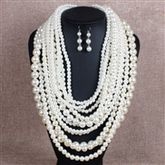 occidental style fashion multilayer Pearl exaggerating long style sweater chain lady temperament necklace