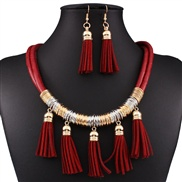 fashion all-Purpose multilayer leather tassel necklace
