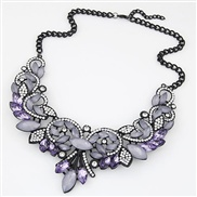 occidental style  fashion luxurious bright gem Metal exaggerating necklace