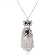retro tassel embed gem owl long necklace