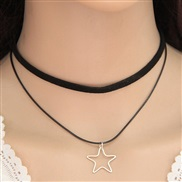 ( silver color Five-pointed star ) occidental style trend  fashion concise Metal Five-pointed star Double layer chain