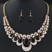 occidental style fashion  Metal flash diamond gem temperament collar necklace  earrings set