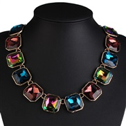 occidental style fashion  geometry形 diamond Colorful necklace