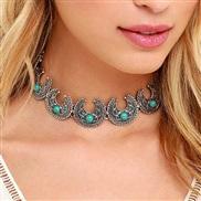 occidental style Bohemia embed turquoise necklace