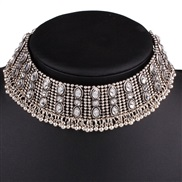 occidental style exaggerating retro silver circle necklace