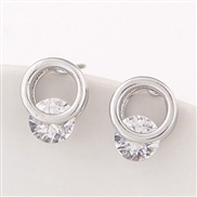 Exquisite Korean fashion sweet simple earrings personalized ring Zircon