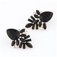 European and American fashion golden shiny gemstone earrings temperament