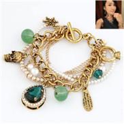 Exquisite luxury European and American fashion retro baroque palace big drop gem bracelet wild multilayer