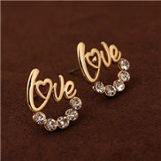 Korean fashion boutique personalized diamond earrings LOVE