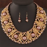 occidental style  trend  Metal all-Purpose elegant large pieces Pearl establishment fashion exaggerating temperament n