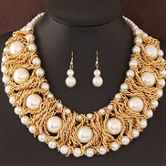 occidental style  trend  Metal all-Purpose elegant large pieces Pearl establishment fashion exaggerating temperament n