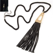 occidental style trend  Metal concise Ladies leather tassel long necklace sweater chain