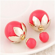 European style lotus leaf candy-colored metal bead size wild temperament earrings personality