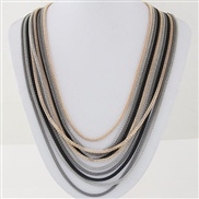 occidental style  trend  Metal multilayer chain fashion mash up short style necklace