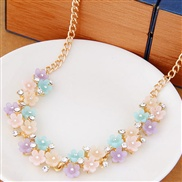 ( color ) fine  Korean style fashion sweet flash diamondOL flowers fashion personality necklace