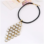 necklace  occidental style retro Round tassel leather necklace pendant