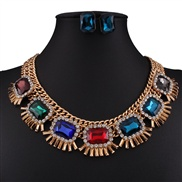 occidental style fashion retro all-Purpose drop gem mosaic necklace